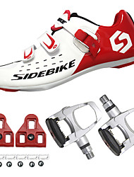 cheap -SIDEBIKE Adults' Cycling Shoes With Pedals & Cleats Road Bike Shoes Carbon Fiber Cushioning Cycling Red and White Men's Cycling Shoes / Breathable Mesh