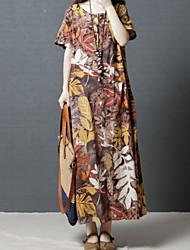 cheap -Women's Sheath Dress - Short Sleeves Floral Summer Elegant 2020 Blue Brown M L XL XXL