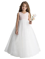 cheap -A-Line Floor Length Wedding / Party Flower Girl Dresses - Chiffon / Tulle Sleeveless V Neck with Ruching