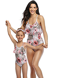 cheap -2 Piece Mommy and Me Active Sweet Floral Color Block Graphic Backless Ruffle Print Sleeveless Short Above Knee Swimwear White