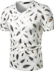 preiswerte -Herrn Geometrisch Druck T-shirt Grundlegend Alltag Weiß / Schwarz