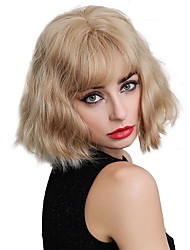 cheap -Synthetic Wig Bangs Wavy Water Wave Side Part Neat Bang With Bangs Wig Blonde Short Blonde Synthetic Hair 12 inch Women's Cosplay Women Synthetic Blonde HAIR CUBE / African American Wig