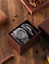 cheap -Men's Steel Band Watches Quartz Modern Style Classic Calendar / date / day Analog Black Silver / Titanium Alloy / Chronograph / Large Dial