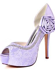 cheap -Women's Wedding Shoes Stiletto Heel Peep Toe Sweet Wedding Party & Evening Lace Satin Flower Floral Summer White Light Purple Pink