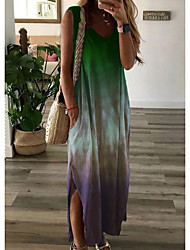 cheap -Women's Shift Dress Maxi long Dress Sleeveless Tie Dye Summer Hot Casual Chinoiserie vacation dresses 2021 Red Green Light Blue S M L XL XXL 3XL