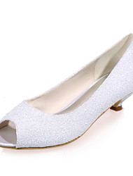 cheap -Women's Wedding Shoes Kitten Heel Peep Toe Sweet Wedding Party & Evening Synthetics Sequin Solid Colored Summer White