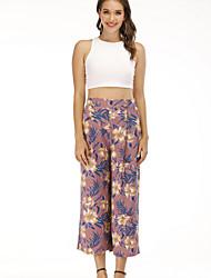 cheap -Women's Basic Street chic Loose Wide Leg Pants - Print High Waist Blushing Pink M / L / XL