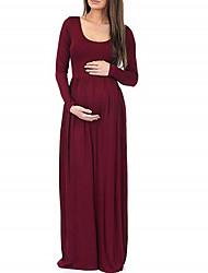cheap -Women's A-Line Dress Maxi long Dress - Long Sleeve Solid Color Summer Elegant 2020 Black Red S M L XL