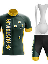 cheap -21Grams Men's Short Sleeve Cycling Jersey with Bib Shorts Black / Yellow Australia National Flag Bike UV Resistant Quick Dry Breathable Sports Australia Mountain Bike MTB Road Bike Cycling Clothing