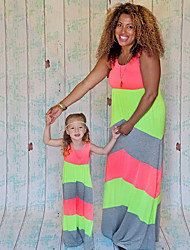 cheap -Mommy and Me Vintage Sweet Color Block Print Half Sleeve Sleeveless Maxi Dress Blushing Pink