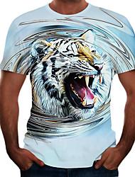 abordables -Homme Graphique Animal Tigre Tee-shirt Basique Elégant Quotidien Sortie Blanche