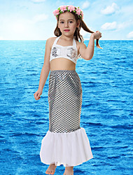 cheap -The Little Mermaid Princess Skirt Flower Girl Dress Girls' Movie Cosplay A-Line Slip Vacation Dress White Top Skirt Briefs Children's Day Masquerade Polyster