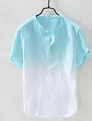 cheap -Men's Color Block Shirt Daily Round Neck Blue / Yellow / Orange / Light Green / Light Blue / Short Sleeve