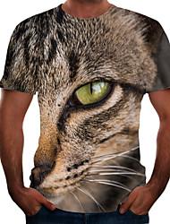 abordables -Homme Graphique Animal Chat Tee-shirt Basique Elégant Quotidien Sortie Marron
