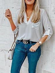رخيصةأون -نسائي لون سادة قميص أنيق مناسب للبس اليومي أبيض / وردي بلاشيهغ