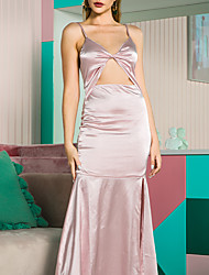 cheap -Mermaid / Trumpet Sheath / Column Pink Party Wear Dress V Neck Sleeveless Floor Length Satin with Ruffles 2020
