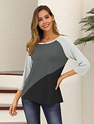 Недорогие -женская повседневная свободная футболка размера eu / us - цвет блок / однотонная шея, розовый