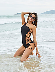 cheap -Women's Basic One-piece Swimwear Swimsuit - Leopard Abstract Solid Colored Backless Lace up S M L Black