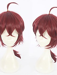 cheap -Cosplay Wig Hawkins Violet Evergarden Straight With Bangs Wig Short Burgundy Synthetic Hair 14 inch Women's Anime Cosplay Exquisite Burgundy