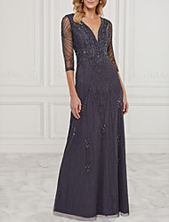 cheap -A-Line Mother of the Bride Dress Elegant V Neck Floor Length Chiffon Tulle Half Sleeve with Lace Beading 2020 / Illusion Sleeve