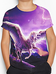 cheap -Kids Boys' Active Basic Horse 3D Animal Short Sleeve Tee Purple