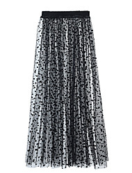 cheap -Women's Swing Skirts - Polka Dot Black S M L