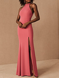 cheap -Sheath / Column Elegant Beautiful Back Party Wear Prom Dress Halter Neck Sleeveless Floor Length Satin with Sleek Split 2020