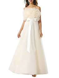 cheap -A-Line Wedding Dresses Strapless Floor Length Tulle Chiffon Over Satin Sleeveless Vintage with Bow(s) 2020
