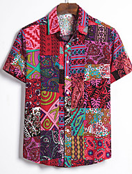 cheap -Men's Shirt Tribal Plus Size Short Sleeve Holiday Tops Vintage Streetwear Blue Red