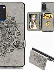 cheap -Mandala Embossed Magnetic Case for Samsung Galaxy S20 PU Leather Wallet Case Multifunction Card Holder Protective Case for S20Ultra S20Plus A51 A71 A91 S10 Plus S9 S8 Plus A70 A50 A40 Note 10