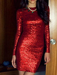 cheap -Sheath / Column Beautiful Back Sparkle Wedding Guest Cocktail Party Dress Jewel Neck Long Sleeve Short / Mini Sequined with Sequin 2020