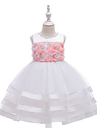cheap -Kids Girls' Cute Jacquard Solid Colored Embroidered Mesh Print Sleeveless Knee-length Dress White