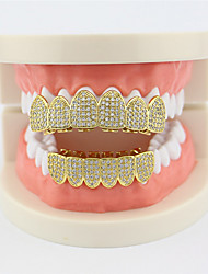 cheap -Teeth Set / Teeth Grills Statement Stylish Luxury Unisex Body Jewelry For Halloween Street Synthetic Diamond Copper Gold Silver