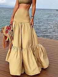 cheap -Women's Swing Skirts Solid Colored Khaki / Maxi