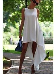 cheap -Women's Chiffon Dress - Sleeveless Solid Color Summer Casual Elegant 2020 White Black S M L XL