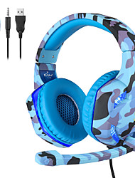 cheap -K-176 Camouflage Luminous Gaming Wired Headset 3.5mm Gaming Headphones W/MIC LED Headphones For PC Laptop PS4 Slim Xbox One X S