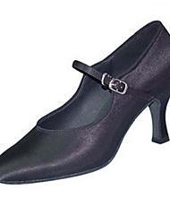 cheap -Women's Latin Shoes PU Heel Cuban Heel Dance Shoes White / Black / Brown
