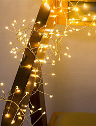 cheap -2M 100Leds Copper Wire LED String Lights Firecracker Fairy Garland Light for Christmas Window Wedding Party Warm White Decor AA Battery Operated (come without battery)