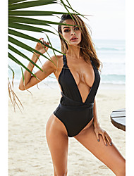 رخيصةأون -أسود S M L بدون ظهر متصالب لون سادة, ملابس السباحة قعطة واحدة ملابس السباحة أسود أساسي نسائي