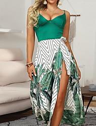 זול -בגדי ריקוד נשים שמלה בגזרה ישרה שמלת מקסי - ללא שרוולים גיאומטרי קיץ סקסי 2020 תלתן S M L XL