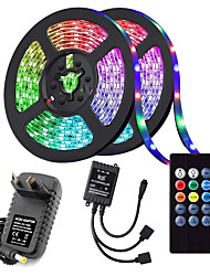cheap -(2x5M)10M 32.8ft LED Light Strips RGB Tiktok Lights 5050 600leds 9mm Strips Lighting Flexible Color Changing with 20 Key IR Remote Ideal for Home Kitchen Christmas TV Back Lights DC 12V