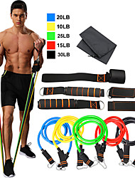 cheap -Resistance Band Set 11 pcs 5 Stackable Exercise Bands Door Anchor Legs Ankle Straps Sports TPE Home Workout Pilates Exercise & Fitness Heavy-duty Carabiner Strength Training Muscular Bodyweight