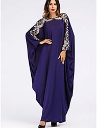 cheap -Women's Shift Dress Maxi long Dress - Long Sleeve Solid Color Summer Casual Mumu 2020 Dusty Blue One-Size