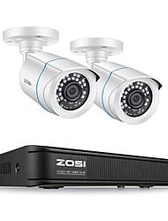 Недорогие -Система видеонаблюдения ZOSI H.265 1080p 4-канальный видеорегистратор и (2) защищенная от непогоды камера с дистанционным управлением для наружного / внутреннего наблюдения с дистанционным доступом