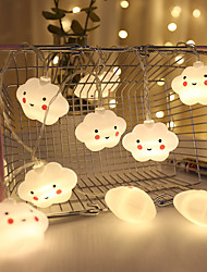 cheap -1.5M 3M Led String Holiday Lights Cute Cloud Christmas New Year Party Decor Fairy String Lights AA Battery Operated Warm White Xmas Lighting 10Leds 20Leds