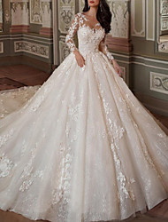 cheap -Ball Gown A-Line Wedding Dresses Jewel Neck Chapel Train Lace Tulle Long Sleeve Vintage Sexy See-Through Backless with Embroidery Appliques 2021