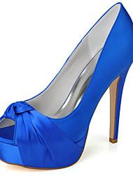 cheap -Women's Wedding Shoes Stiletto Heel Peep Toe Minimalism Wedding Party & Evening Satin Solid Colored Summer White Black Purple