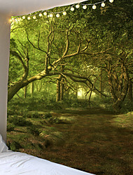 Недорогие -триппи гобелен гобелен ткань лесной хиппи дерево гобелен психоделический пейзаж гора бохо декор фрески гобелен