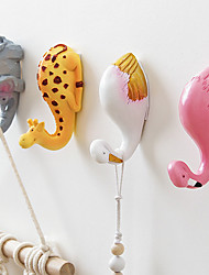 cheap -Cartoon Creative Wall Decorations Animal Head Shaped Single Wall Hook/Hanger Resin Material for Hanging Clothes Coat Hats Keys Bags 2pc