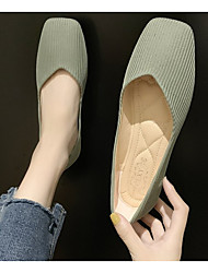 cheap -Women's Flats Spring & Summer Flat Heel Square Toe Daily Solid Colored PU Yellow / Pink / Green